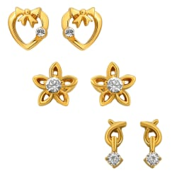 Mahi Combo of Beautiful Gold Plated Earrings For Women