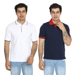 Brandtrendz Uva Navy And White Pack of 2 Polo T Shirts, xl