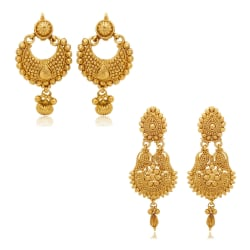 Donna Combo Of Festive Delight Gold Plated Earrings For Women Co1104337G