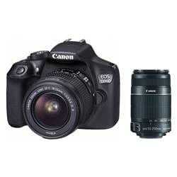 Canon EOS 1300D Double Zoom 18MP DSLR Camera with EF S18-55 IS II & EF S55-250 IS II Lens (Black)