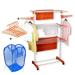 Kawachi Power Dryer Cloth Drying Stand With Laundry Basket Bag & 6 Pcs Hanger Combo