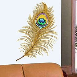 Decals Design  Oh Dreamy Peacock Feather  Wall Sticker (PVC Vinyl, 50 cm x 70 cm)