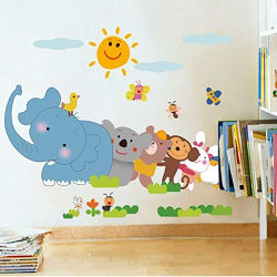 Decals Design  Jungle Cartoon Cute Animals  Wall Sticker (PVC Vinyl, 60 cm x 90 cm)