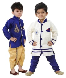Dixita Blue Dhoti Kurta & Sherwani-Pack of 2