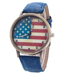 Keepkart USA Flag Dial Blue Denim Strap Analog Watch For Girls