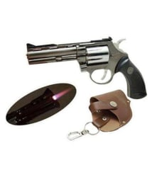 Gun Shaped Cigarette Lighter with Windproof Jet Flame - Metal Body & Plastic Hand Grip