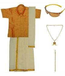 Preethi Dresses Golden and Beige Silk Dhoti Kurta Set
