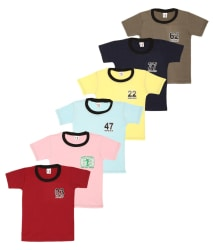 SR Kids Multicolor 100% Cotton Pack of 6 T-Shirts For Boys