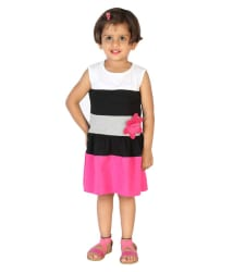 Lil Orchids Pink Cotton Girls Printed Casual Dress