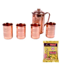 Italiano Brown Copper Jug and Glasses Set with Pitambari Powder - Pack of 6