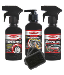 Sheeba Black Car Polish Mini Kit-Tyre Shine, Dashboard Polish, Car Wax Polish-Pack/Combo of 3