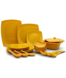 Czar Square Yellow Melamine Dinner Set of 32 Pieces