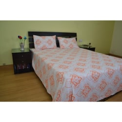 Me Sleep Double Bedsheet With Two Pillow Covers (Multicolor)