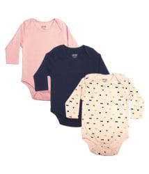Gkidz Infants Pack of 3 Multicolor Full Sleeve Combo Bodysuits