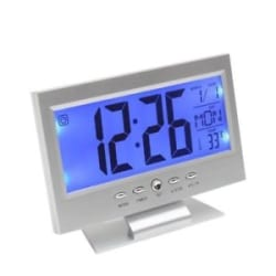 Alarm Clock Voice Control Digital Snooze TV LED Clock Back light Temperature