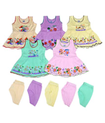 Sathya Comfortable Multicolor Cute Frocks with Bottom - Pack of 5