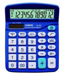 Chrome 9238Blue Check & Correct Basic Calculator Blue (12 Digit)