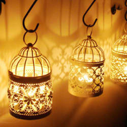 Maroc Style Lantern Rustic Metal Birdcage Tealight Holder Candle Candlestick