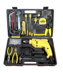 Buildskill 13mm 650W Drill Machine Kit with Reversible and Impact Function + 101 Accessories (6 Months Brand Warranty)