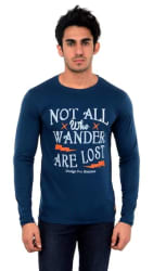 DFH Men s Regular Fit Round Neck Printed T-Shirt - Blue