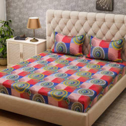 Bombay Dyeing 160 TC Microfiber Double Printed Bedsheet (1 Bedsheet, 2 Pillow Covers, Multicolor)