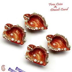 Aapno Rajasthan Set Of 4 Shank Diyas With Pearls And Kundans Accents