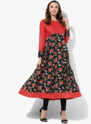 Round Neck Full Sleeves Printed Anarkali