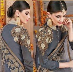 Details about Shanaya Grey Straight Silk Designer Kurti / Kurta with Dupatta