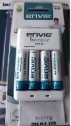 Envie 4nos 2800mAh AA Rechargeable Battery + Beetle Charger with wranty