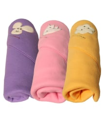 My NewBorn Multi-Colour Fleece Baby Blanket ( 76 cm × 85 cm- 3 pcs)