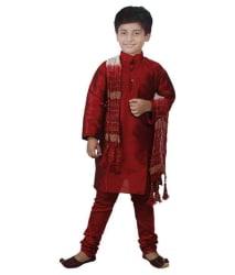 JBN Creation Maroon Silk Kurta Pyajama Set with Matching Dupatta