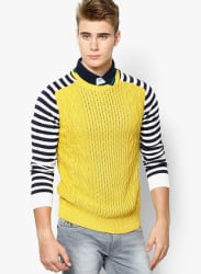 Yellow Printed Round Neck T-Shirts