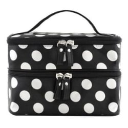 Women s Travel Portable Cosmetic Double Layer Dot Pattern Toiletry Bag W/Mirror