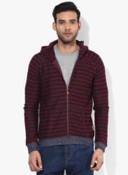 Maroon Striped Sweat Jacket