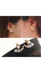 Faux Pearl & Rhinestone Crystal Ear Stud Earrings - Gold