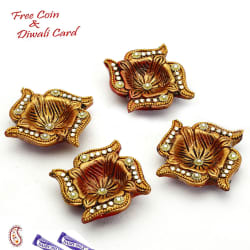 Aapno Rajasthan Crystal Beads Studded Golden Diyas (Pack Of 4)