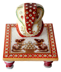 Sajawat Bazaar Traditional Makrana Marble Lord Ganesha And 1 Piece Of Chowki Ganesh
