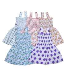 Sathya Comfortable Multicolour Cotton Cute Frocks - Pack of 5