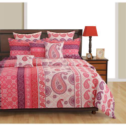 Swayam Pink And Red Ethnic Fitted Double Bed Sheet With Pillow Covers