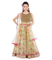 The fashion up cream Bhagalpuri Semi Stitched lehenga choli with blouse