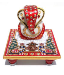 Anshul Fashion Red Marble Lord Ganesha Chowki