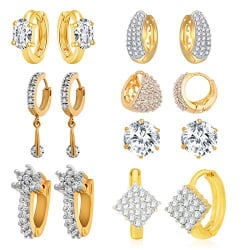 Jewels Galaxy Gold Plated Stud Earrings for Women (White)(CB-BLL-113)