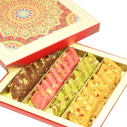 Punjabi Ghasitaram Diwali Gifts Sweets Assorted Kaju Katlis In Fancy Box