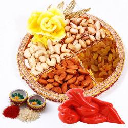 Creativity Centre Diwali Bhai Dooj Dryfruit Thali N Ganesha