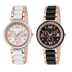 Details about Swissstyle Multicolour Dial Watch White Black for Girls,Women!!(Pack of 2)
