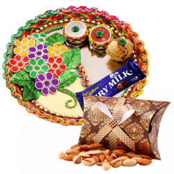 Creativity Centre Diwali Bhai Dooj Floral Tikka Thali N Crunchy Dryfruit