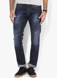 Blue Mid Rise Regular Fit Jeans (Clark)