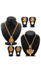 Sukkhi Wavy Gold Plated Kundan Set of 2 Necklace Set Combo For Women