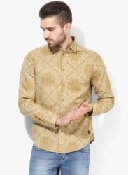 Khaki Printed Slim Fit Casual Shirt