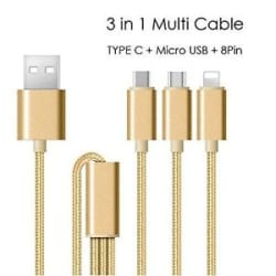 3 in 1 USB Charging Cable With Type C, Micro USB, iPhone 5/6/5S/6S/7/7+